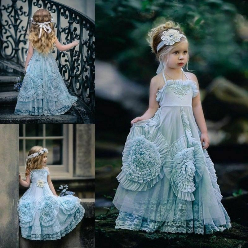 Blue Crystal Flower Girl Dress Princess Birthday Pageant Gown Dance Prom Formal
