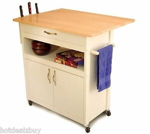 Rolling utility cart wood top cabinet storage organizer Kitchen utility island