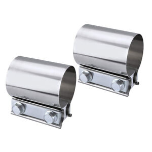 QUALINSIST 2 1//2 2.5 T304 Stainless Steel SS Butt Joint Band Exhaust Clamp 2 PCS
