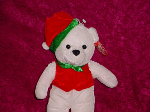 SO CUTE ** 12  INCHES ** NEW ** CUDDLY COUSINS ** BEAR WITH RED HAT ** WHITE