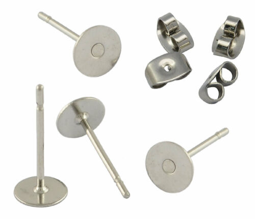 50 x Earring Studs 6mm Pad /& Clutch Hypoallergenic Surgical Steel BUDGET RANGE