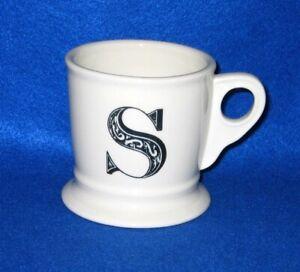 """Anthropologie Mug Coffee Tea Monogram Letter """" S """" Shaving Style"""