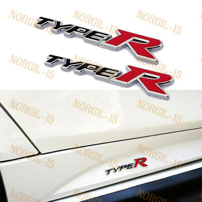 TOTUMY Type R Badge Emblem 3D Car Trunk Side Auto Logo Fender Adhesive Replacement Decal Sticker Truck Van Sports Car ABS Plastic DIY Green Red