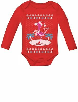 Christmas Sweaters Cute.Fa La La Flamingo Ugly Christmas Sweater Cute Xmas Baby Long Sleeve Bodysuit Ebay