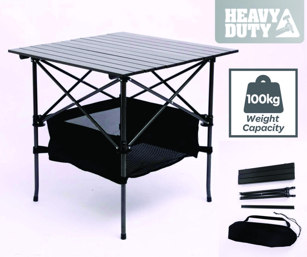 TRA HEAVY DUTY STEEL & ALUMINIUM  FOLDING COLLAPSIBLE CAMPING TABLE  comfortably