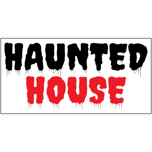 Haunted House Black Red DECAL STICKER Retail Store Sign
