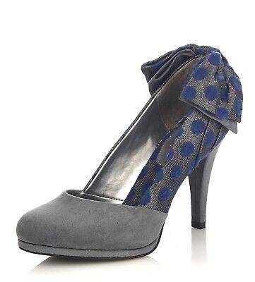 Ruby Shoo NEW Katie grey navy blue polka dot high heel court shoes size 3-8