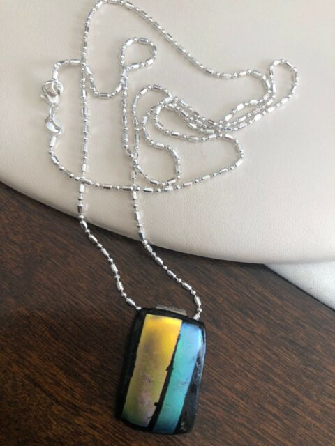 Dichroic Glass Pendant Necklace With 30 Inch Chain Handmade