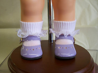 "LAVENDER HEART  SHOES /& FREE  LACE SOCKS FOR 16/"" TERRI LEE DOLL New"