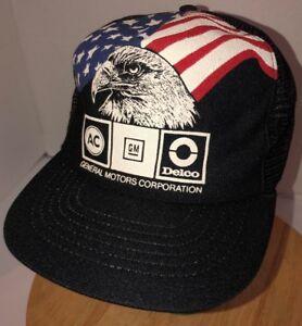 Vintage GENERAL MOTORS 80s USA Trucker Hat Cap Snapback Eagle Flag ... 31e8a282a308