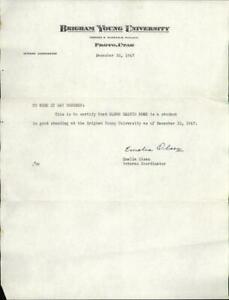 1947 Provo Utah (UT) Letter Brigham Young University Eldon Calvin Moss Emelia Ol