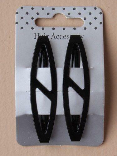 2 PACK OPEN STYLE BARRETTE RECTANGLE OVAL BLACK CLIP