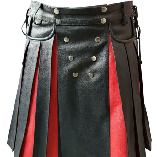 Herren Kilt Schwarz Rotes Leder Gladiator Plissiert Utility Glatt Vorne Tasche
