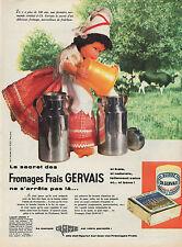 PUBLICITE  FROMAGE FRAIS GERVAIS BIDON DE LAIT  POUPEE ANCIENNE OLD DOLL AD 1961