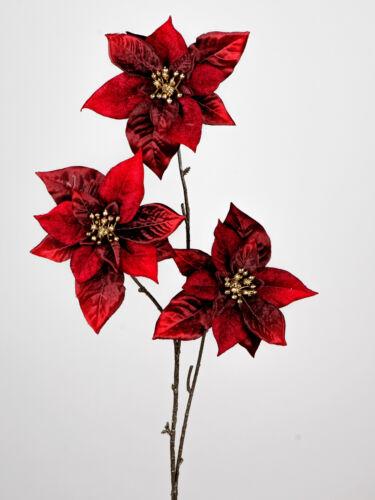 künstlicher Weihnachtsstern mit 3 großen Blüten bordeaux rot H 80cm Formano W20