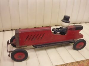 1930s-HUSTLER-Wood-Toy-Car-with-Turning-Head-Hat-Steering