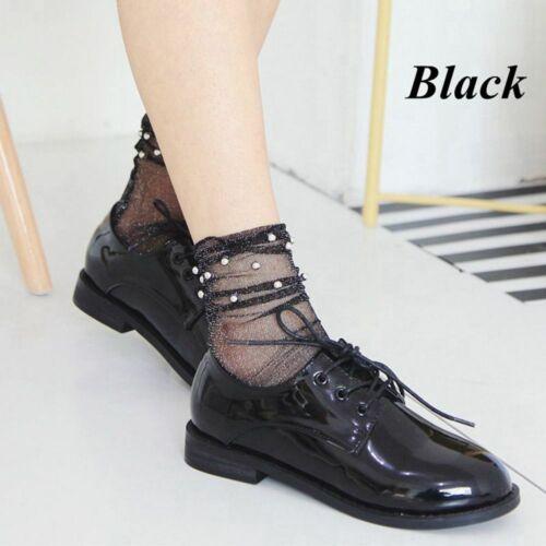 Summer Silver Bead Short Glitter Fishnet Socks Black Gauze Mesh Ankle Stockings