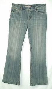 Pin-Stripe-Distressed-WIDE-FLARE-Leg-Mid-Rise-GUESS-Stretch-Denim-Jeans-32