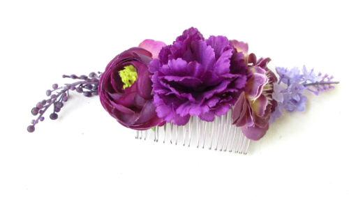 Rose pourpre Ranunculus lavande cheveux fleur peigne demoiselle d'honneur bandeau vtg 1171