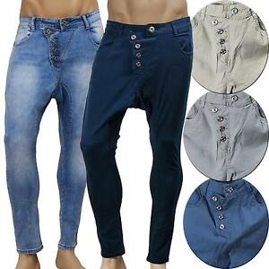 8a707a53afcd4 Caricamento dell immagine in corso Pantaloni-lunghi-UOMO-cavallo-basso-jeans -bottoni-sbieco-