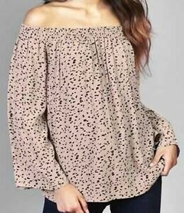 New-Ex-Debenhams-Ladies-Pink-Spotted-Bardot-Cold-Shoulder-Top-Size-10-18