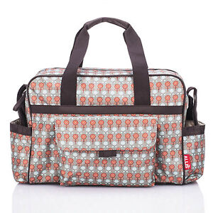 Baby-Changing-Bag-Luxury-Nappy-Diaper-Bags-Insulated-Fashion-Red-Grey