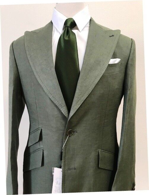 Grün summer linen suit with double stitched wide peak lapel made in