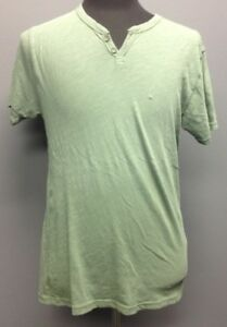 Men's Clothing Lucky Brand Green Cotton Button Collar Short Sleeve Casual Shirt Sz M Ee9618 Casual Button-down Shirts