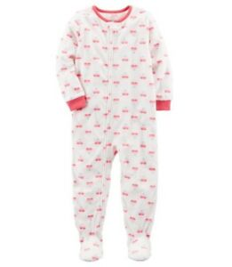 Carter/'s Girls 1 Piece Footed Sleeper Zip Up Fleece Pajama