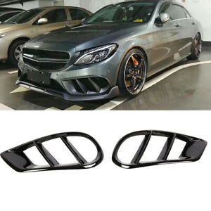 For-Benz-W205-C250-C43-Front-Bumper-Grill-Air-Vent-Cover-Glossy-Black-15-18-2PCS