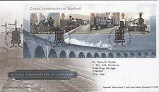 GB 2012 FDC Classic Locomotives of Scotland MINISHEET Glasgow pmk set stamps