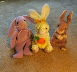 Lot of 3 TY Beanie Babies Bunnies Floppity Nibblies & Springy Plush No Tags