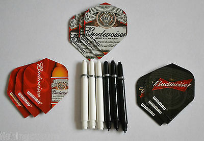 BUDWEISER FLIGHTS AND  WHITE DEFLECTAGRIP NYLON STEMS WITH SPRINGS