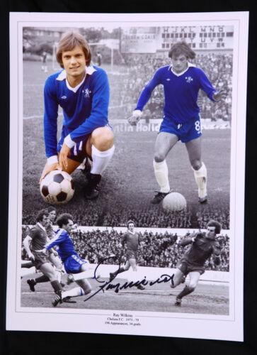 New Ray Wilkins Chelsea Signed 12x16 Football Montage