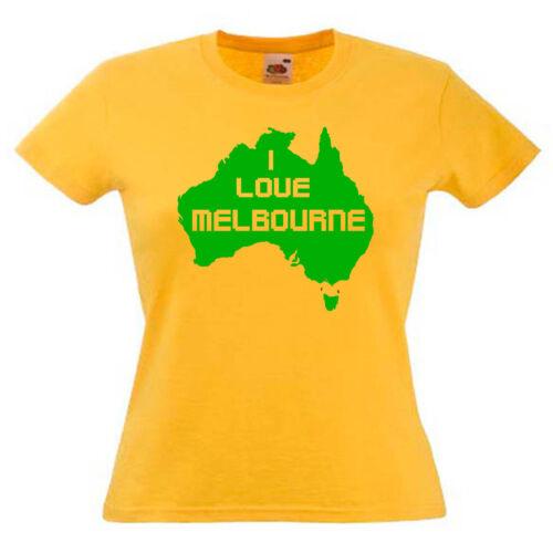I Love Melbourne Australia Ladies Lady Fit T Shirt 13 Colours Size 6-16