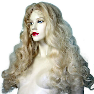 Blonde-Silk-Top-Full-Lace-Wig-Human-Indian-Hair-Remi-Remy-Bouncy-Body-Wave-Long