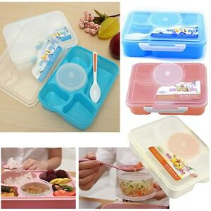 new microwave bento lunch box spoon utensils picnic food container storage. Black Bedroom Furniture Sets. Home Design Ideas