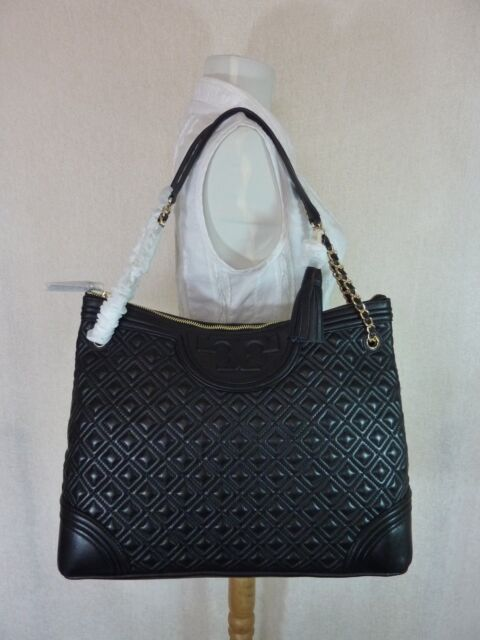 df945e21885 Authentic Tory Burch Quilted Leather Fleming Tote Bag Black for sale ...