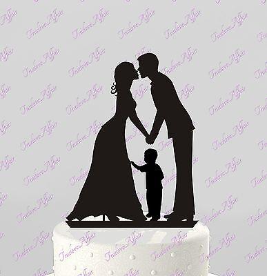 Wedding Cake Topper Bride, Groom & boy Silhouette; Kiss; Family, Acrylic CT62b