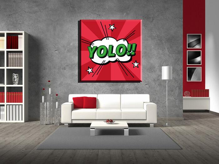 LEINWAND BILD BILDER XXL POP ART YOLO COMIC MANGA GRAFFITI ABSTRAKT BIS 130x130