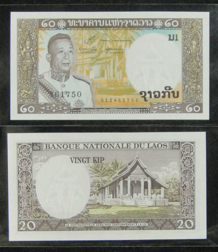 Lao 20 Kip BANKNOTE 1963 UNC