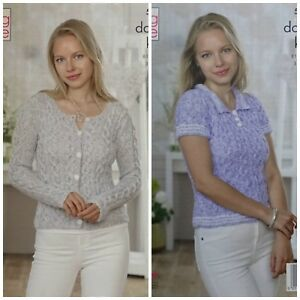 KNITTING-PATTERN-Ladies-Round-Neck-Cable-Cardigan-amp-Jumper-DK-King-Cole-5041