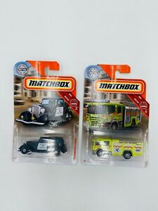 Matchbox-lot-of-2-MBX-Rescue-Vehicles-Police-Car-and-Fire-Truck-New