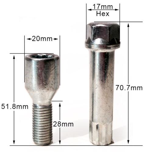 28mm para aftermarket Alloy Wheels Conjunto de 20 Tornillos de sintonizador M14 X 1.5 VW