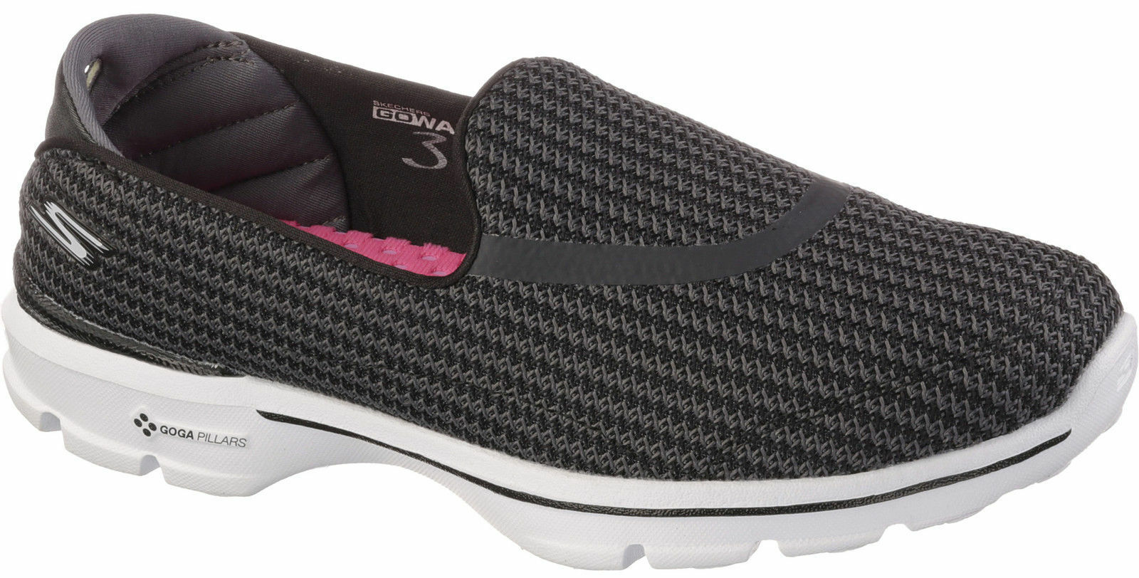 NEU WOMEN'S SKECHERS GO WALK 3 BLACK SLIP ON GOGA MAT COMFORTABLE Schuhe 13980