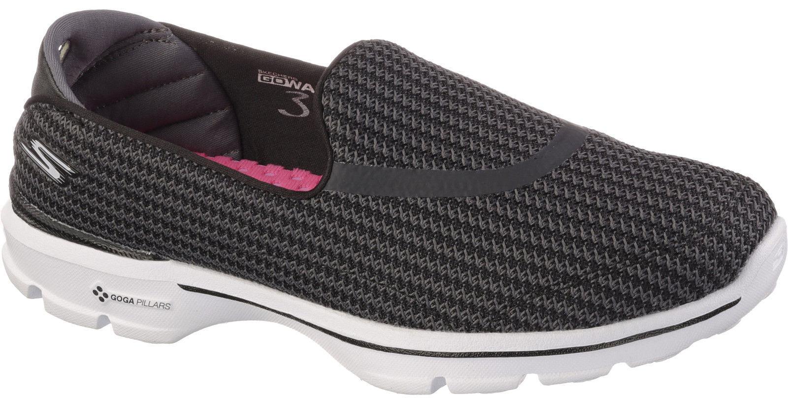 NOUVELLES FEMMES Skechers Go Walk 3 Noir à Enfiler Goga Tapis Chaussures