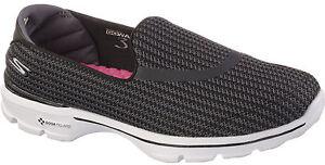 55ee6d007ebf NEW WOMEN S SKECHERS GO WALK 3 BLACK SLIP ON GOGA MAT COMFORTABLE ...