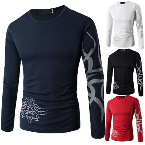 Mens Slim Fit Long Sleeve T-Shirt Stylish Casual Tee Shirts Tops Pullover Blouse