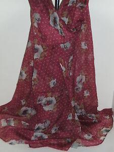BNWT-Ex-Long-Soft-Pink-Grey-Tones-Polka-Dot-Floral-Design-Scarf-180cm-x-80cm