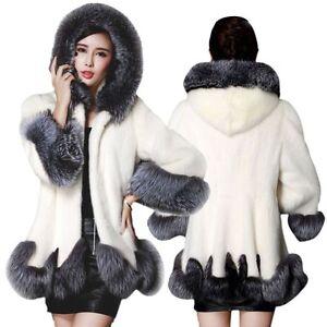 capuche manteau en coréenne chaud femme fourrure pardessus hiver fausse à Manteau wTfIOzxqT